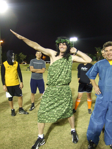 Ultimate player dressed as the Jolly Green Giant