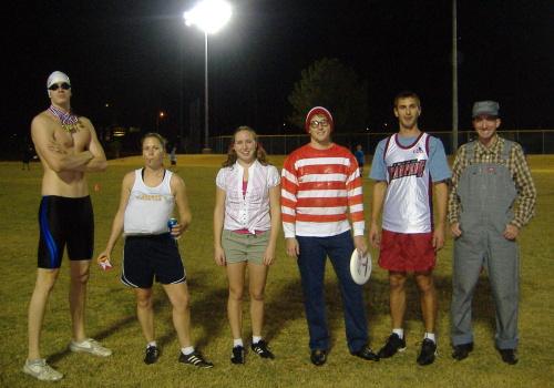 Team, Swinging Huckers, in costume.