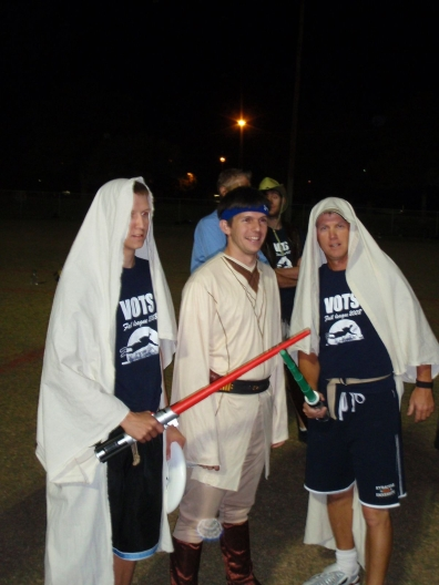 three ultimate players in Jedi robes