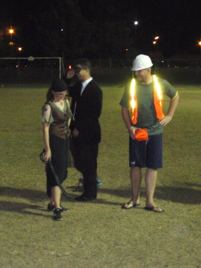 players costumed as a pirate and construction worker
